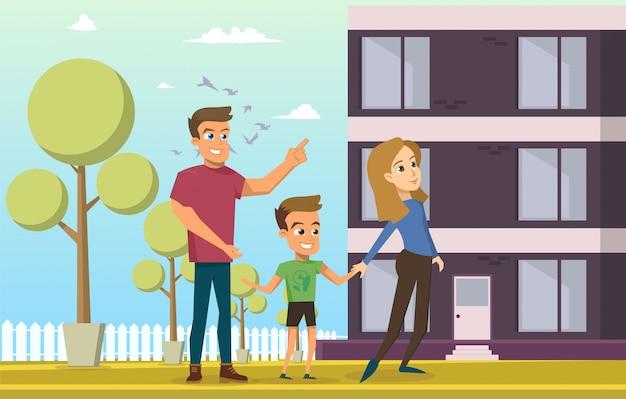 Ilustración vectorial de dibujos animados joven familia feliz