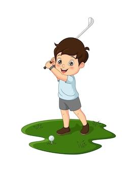 Ilustración vectorial de dibujos animados lindo niño jugando al golf