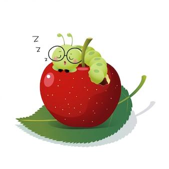 Ilustración vectorial de dibujos animados lindo oruga con gafas y durmiendo en una manzana.