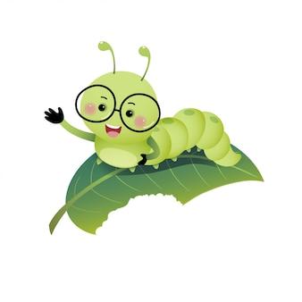 Ilustración vectorial de dibujos animados lindo oruga con gafas y mostrando su mano en la hoja.