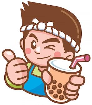 Ilustración vectorial de dibujos animados masculino presentando té burbuja