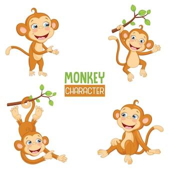 Ilustración vectorial de dibujos animados monos