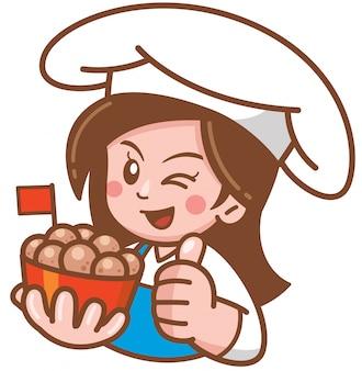 Ilustración vectorial de dibujos animados mujer presentando comida