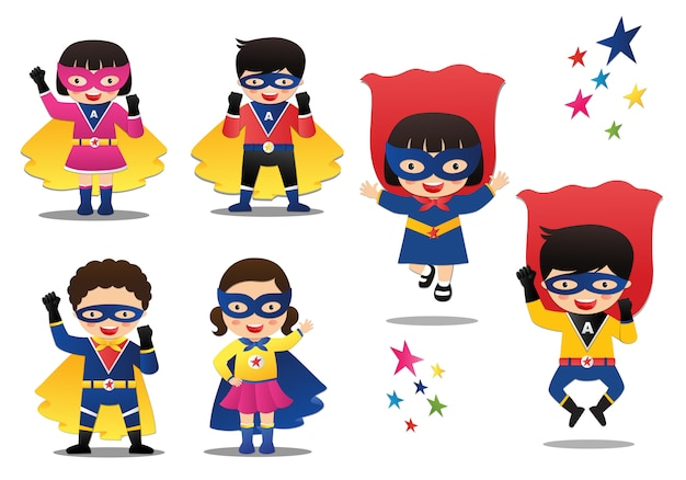 Ilustración vectorial de dibujos animados de niños superhéroes