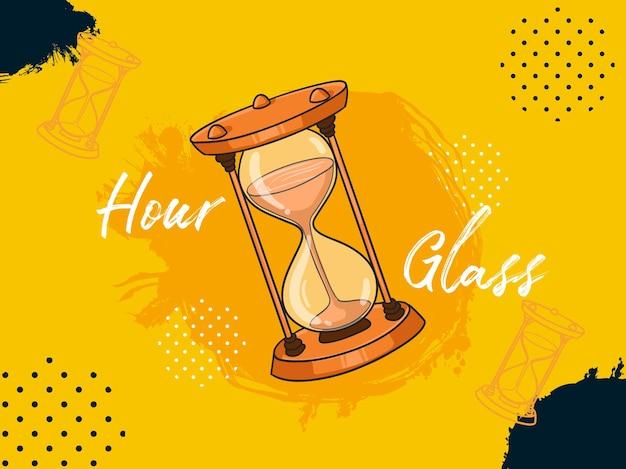Ilustración vectorial diseñador plantilla de presentación de salpicaduras historia del reloj de arena pensar estilo de coloración de dibujos animados dibujados a mano