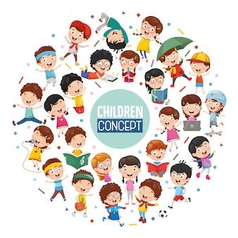 Ilustración vectorial de diseño de concepto de los niños