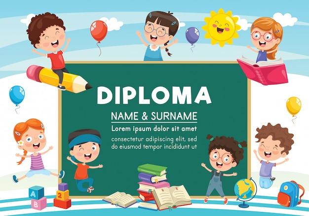 Ilustración vectorial de diseño de diploma
