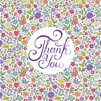 Ilustración vectorial de diseño floral gracias tarjeta