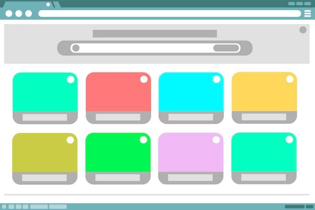 Una ilustración vectorial del diseño del marco del navegador con ventanas de color en el interior