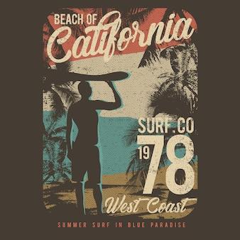 Ilustración vectorial diseño de surf con estilo grunge