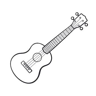 Ilustración vectorial doodle dibujado a mano de guitarra clásica instrumento musical punteado de cuerda