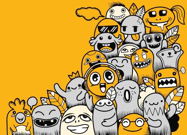 Ilustración vectorial de doodle lindo monstruo con espacio de copia