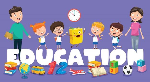 Ilustración vectorial de la educación de los niños