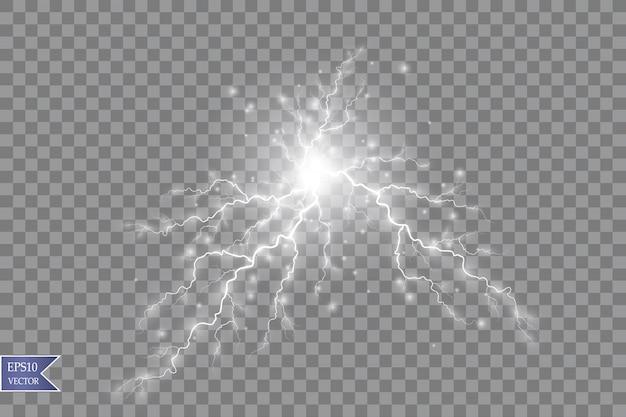 Ilustración vectorial efecto de luz transparente del rayo de bola eléctrico. energía de plasma mágico