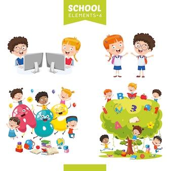 Ilustración vectorial de elementos de educación