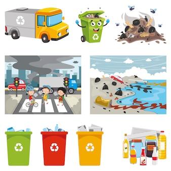 Ilustración vectorial de elementos del entorno