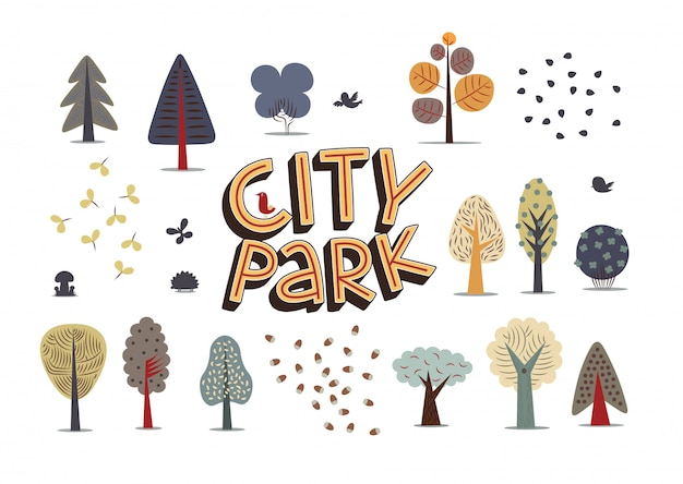 La ilustración vectorial de elementos del parque de la ciudad