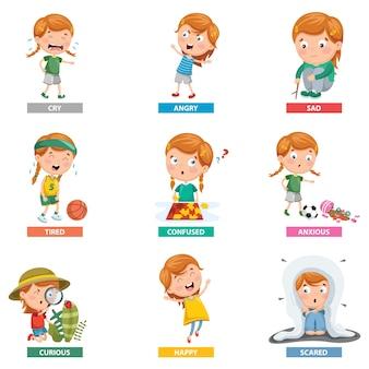 Ilustración vectorial de emociones