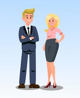 Ilustración vectorial de empresario y empresaria