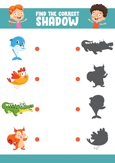 Ilustración vectorial de encontrar el ejercicio de sombra correcta