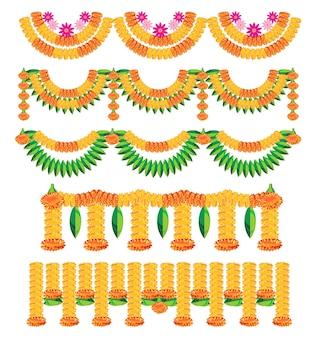 Ilustración vectorial escalable de variedad de banderines conocidos como toran en hindi