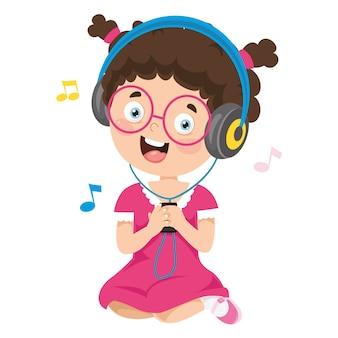 Ilustración vectorial de escuchar música para niños