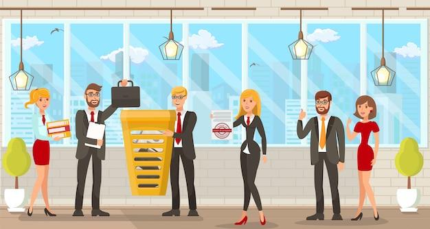 Ilustración vectorial espacio de coworking para abogados.