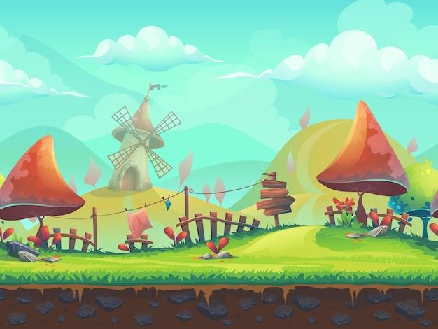 Ilustración vectorial estilizada de dibujos animados transparente sobre el tema del paisaje europeo con árboles.