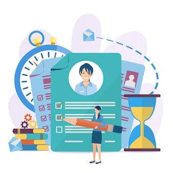 Ilustración vectorial en un estilo plano. concepto de negocio para empleo, elección de carrera, buscador de trabajo.