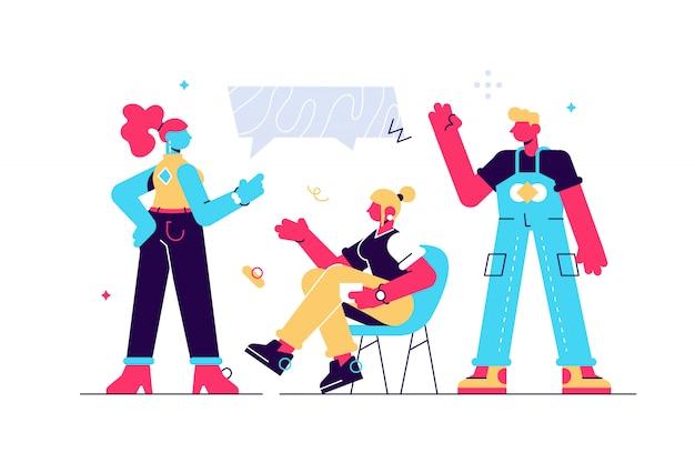 Ilustración vectorial, estilo plano, noticias, personas de la compañía apoyan el diálogo, se comunican.