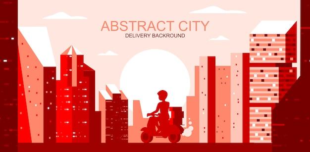 Ilustración vectorial en estilo plano simple - paisaje de la ciudad con mensajería en scooter