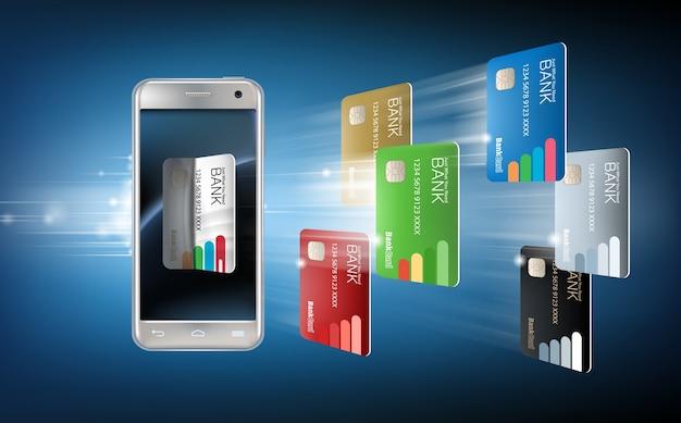 Ilustración vectorial en un estilo realista el concepto de pagos móviles utilizando la aplicación en su teléfono inteligente.