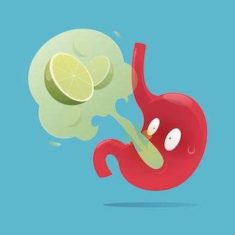 Ilustración vectorial del estómago con síntomas de eructos, enfermedad por reflujo gastroesofágico
