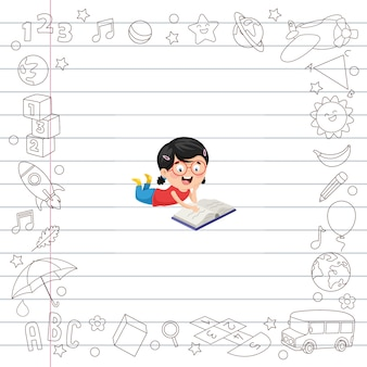 Ilustración vectorial de estudiantes de dibujos animados