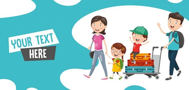Ilustración vectorial de familia viajando