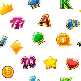 Ilustración vectorial. fondo con iconos de casino de colores en blanco, patrón repetitivo sin fisuras.