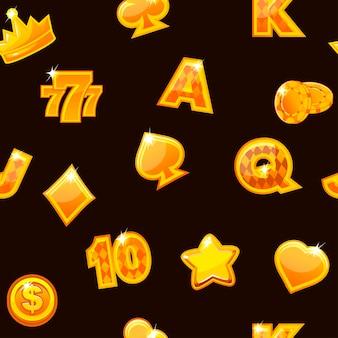 Ilustración vectorial. fondo con iconos de casino oro en negro, patrón repetitivo sin fisuras.