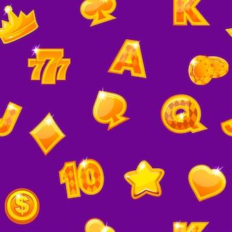 Ilustración vectorial. fondo con iconos de casino oro en púrpura, patrón repetitivo sin fisuras.