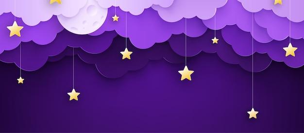 Ilustración vectorial fondo infantil de dibujos animados con nubes y estrellas en cuerdas.