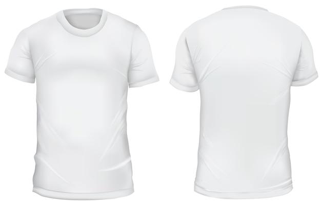 Ilustración vectorial frente a la camiseta en blanco y vistas traseras. aislado en blanco