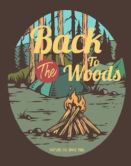 Ilustración vectorial de fuego de campamento en el bosque
