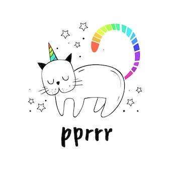 Ilustración vectorial de un gato con un cuerno