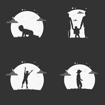 Ilustración vectorial gráfico de crecimiento de un niño en el fondo de la noche. perfecto para usar en empresas educativas