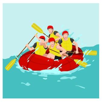 Ilustración vectorial un grupo de hombre de rafting en el río
