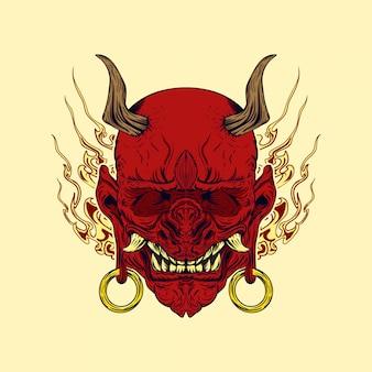 Ilustración vectorial de hannya, el tradicional demonio japonés oni máscara roja