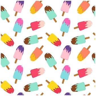 Ilustración vectorial helado multicolor en un palo brillante de patrones sin fisuras