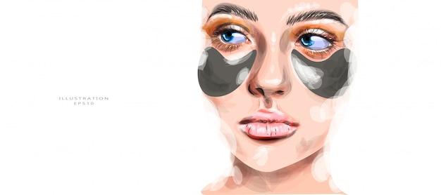 Ilustración vectorial hermosa chica con parches en la cara.