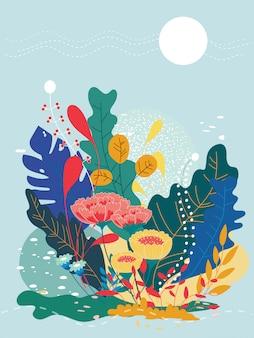 Ilustración vectorial de una hermosa florales flores de primavera y el sol