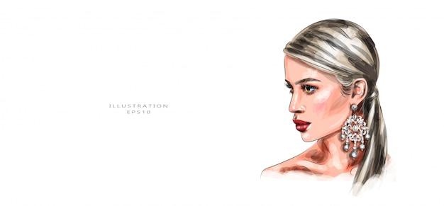 Ilustración vectorial hermosa mujer joven con maquillaje vivo.