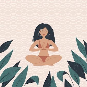Ilustración vectorial de una hermosa niña morena sentada en una posición de loto